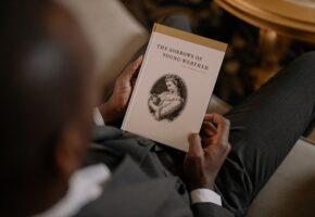Перевод художественной литературы - мужчина держит книгу Страдания юного Вертера